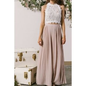 NWT The Moon beige pleated maxi skirt